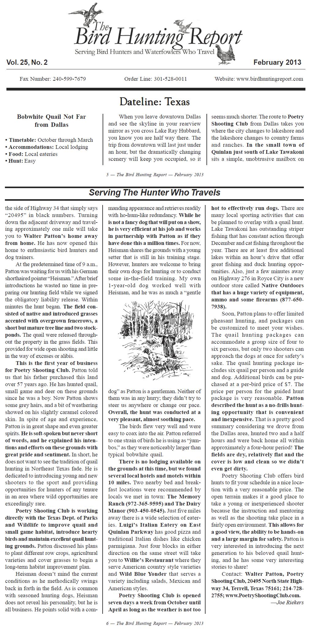 Bird Hunting Report